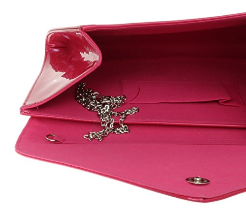 Girly Designer Faux Clutch HandBags Shimmer Ladies Plain Bag Envelope Leather Evening Patent Rose UAOUrxqw