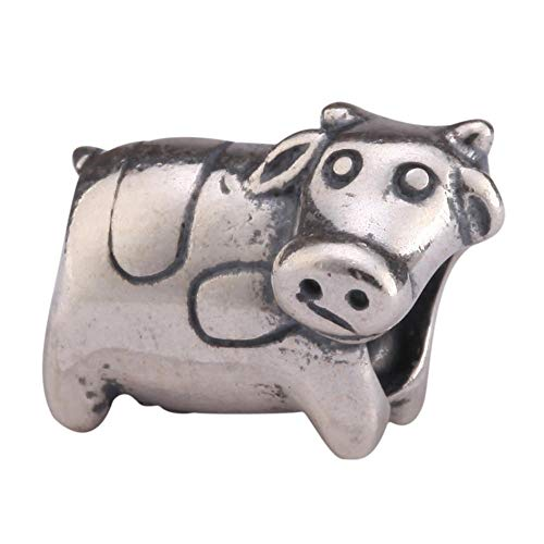 Cute Sterling Silver Betsy Cow Charm Animal Bead fit All Charm Bracelet for Women Girls Mother's Gifts EC260