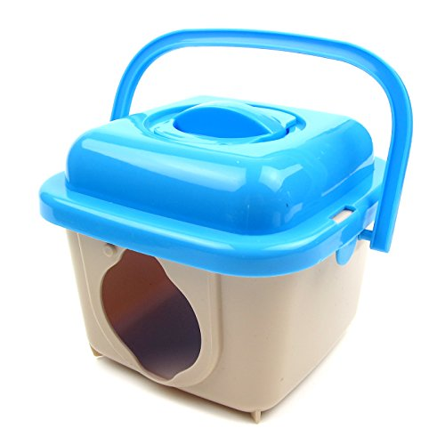 Alfie Pet by Petoga Couture - Cam Travel Carrier Vacation House for Small Animals like Dwarf Hamster and Mouse - Color: Blue (Blue Camcarrier)