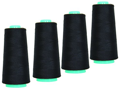 High Speed Polyester Sewing Thread 4 Cone 3000 Yards Sewing & Quilting Use Industrial Standard Black Color All Purpose Thread by Secret Life (4 x 3000 Yard, Black)