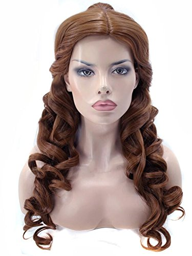 Natural Long Body Wave And The Beast Clip Ponytail Brown Princess Synthetic Cosplay Wig For Halloween Party -