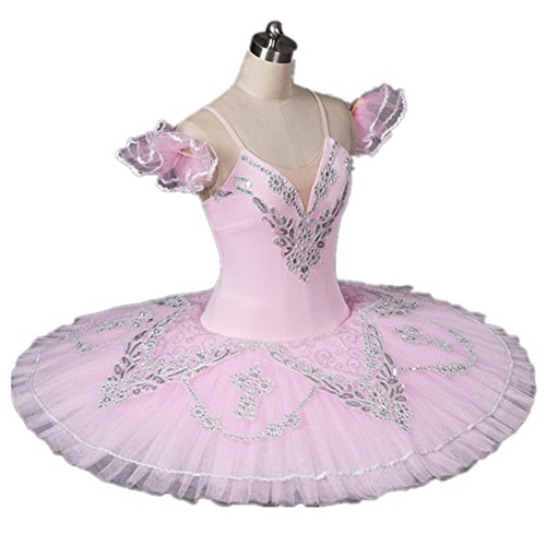 Dance Favourite DBL-046-2 Light Pink Professional Classical Ballet Tutus Stage Costume with 10 Layers Pancake Skirt/Arm Bands are (Platter Tutu Ballet)