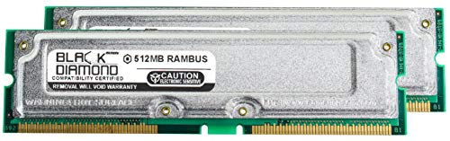 - 1GB 2X512MB RAM Memory for IBM IntelliStation M Pro 6229-10U Rambus RDRAM RIMM 184pin PC800 45ns 800MHz Black Diamond Memory Module Upgrade