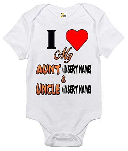(Baby Bodysuit - Custom Personalized I Love My Aunt and Uncle With Your Names (White, 0-3 Months))