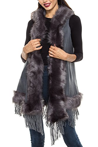 KAYLYN KAYDEN KLKD B002 Women's Faux Fur Hooded Open Front Vest Cardigan Grey One (Trim Womens Vest)