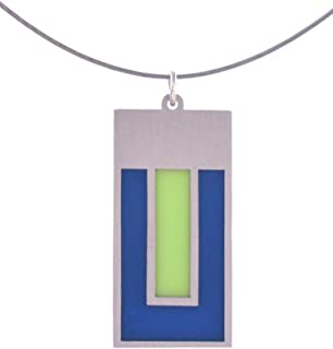 product image for American Made Modern Style Stainless Steel Color Field Pendant Necklace, Navy Blue Lime Green