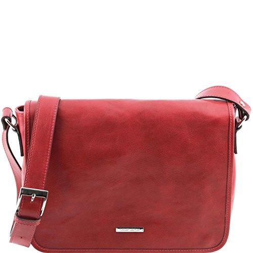 Tuscany Leather - TL Messenger -Bolso en piel con bandolera 1 compartimento - Tamaño medio Marrón - TL141301/1 Rojo