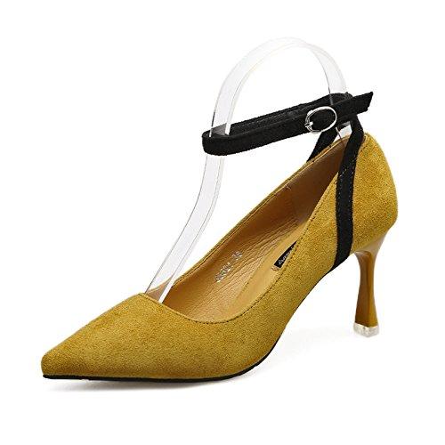 AJUNR Femmes Loisirs été Mode Hautes Chaussures de Talon de 8 cm Talon Fine Forte tête Bouche Peu Profonde Seule Chaussure Un Type de Mot Boucle Jaune
