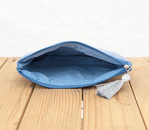 Indaco della frizione, effetto delavé, borsa, argento paillettes damigella d onore, Boemia, dimensioni 12,7x 22,9cm