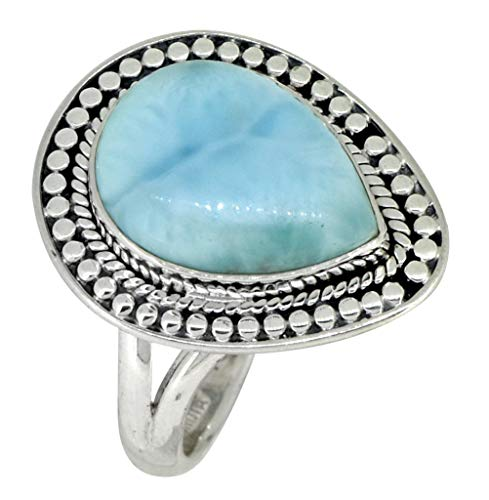 YoTreasure Pear Shape Larimar Ring Solid 925 Sterling Silver