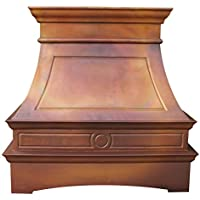 Sinda Copper Range Hood with High Airflow Centrifugal Blower, Includes SUS 304 Liner and Baffle Filter, High CFM Vent Motor, Wall / Island / Ceiling Mount, Width 30,36,42,48 in (W30xH48Wall)