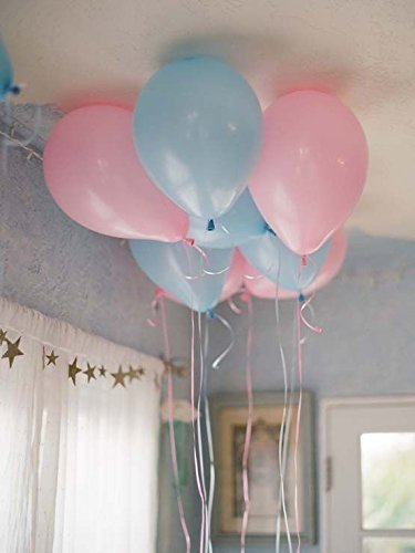 """12"""" 3.2 Helium Quality Matte Latex Balloons - Light Pink And Light Blue. Perfect For Gender Reveal Baby Shower Party Decoration, 1st Birthday Boys &Girls & twins And Other Occasion- 100 Count."""