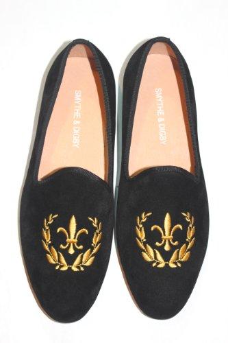 SMYTHE & DIGBY S&D Men's Albert Slipper Leather Velvet Loafer (9.5, Black)