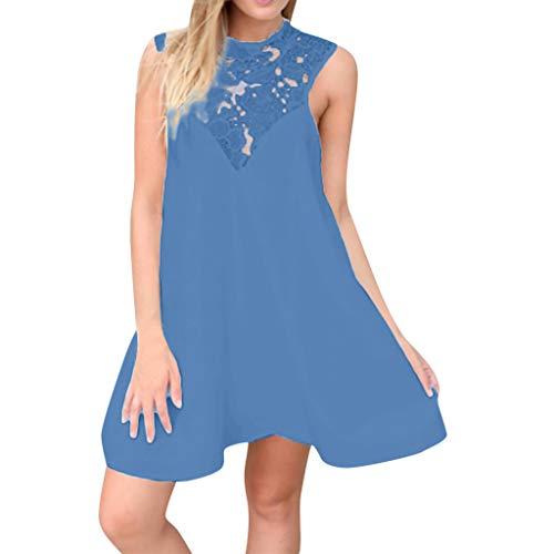 Women's Mini Chiffon Dress Summer Halter Sleeveless Lace Tunic Tank Beach Dresses Blue