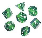 Polyhedral 7-Die Dice Set DND Dice Green Galaxy