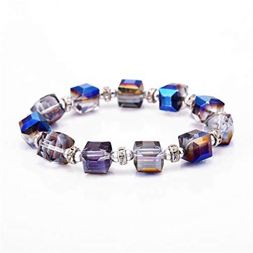Value-Smart-Toys - 7 types European square glass Charm Beads Bracelets & Bangles DIY elastic line rhinestone circle charm Bracelets Women Jewelry