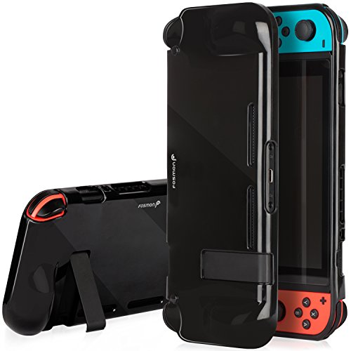 Nintendo Switch Case, Fosmon Slim Thin Flexible TPU Rubberized Protective Case with Kickstand Cutout, Anti-Scratch and Shock-Absorption Snap-On Cover (Black)