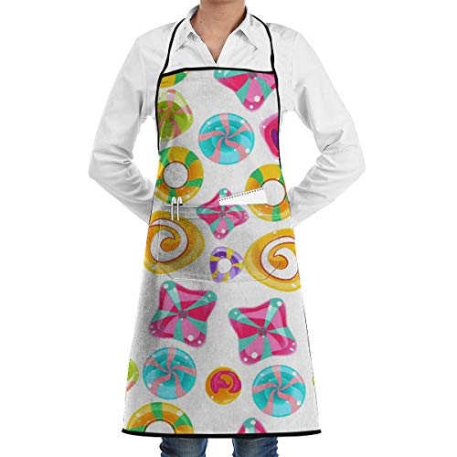 Vicrunning Candy Pattern Aprons Bib for Mens Womens Craft String Adjustable Adult Kitchen Waiter Aprons with Pockets]()