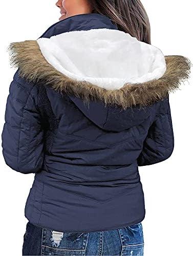Women's Short Puffer Coat Zip Pockets Quilted Parka Jacket Faux Fur Trim Hooded Jacket