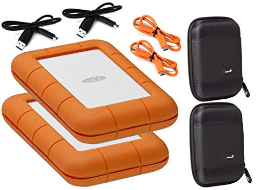 Lacie 2 Pack Rugged 4TB USB-C (USB 3.1) External Hard Drives Compatible with Mac and PC - Water and Drop Resistance with Compact Pocket Cases