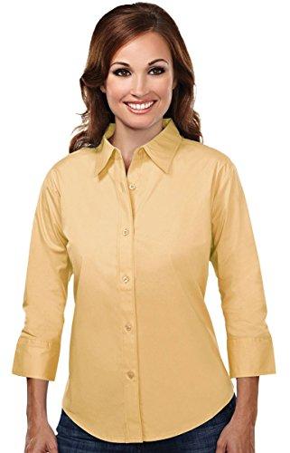 (Tri-mountain Womens cotton stretch poplin 3/4 sleeve shirt. 731 - SUNFLOWER_2XL)
