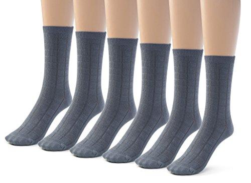 (Silky Toes 6 Pk Boys Girls Textured Crew Socks, Designed Bamboo Dress and Casual School Socks (Medium (8-9), Grey (6 Pairs)))