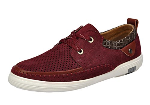 T&Mates Cyber Monday Men's Suede Casual 2-Eyes Lace Up Buttons Low-top Fashion Sneakers(7 D(M)US, Claret)