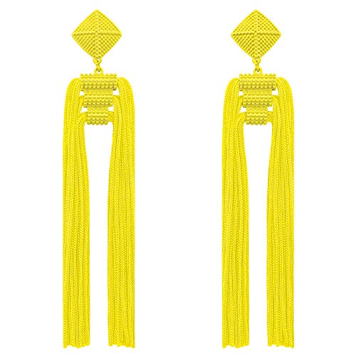 Fashion Bohemian Jewelry Long Tassel Draping Extra Long Shoulder Duster Earring for Party Prom Yellow