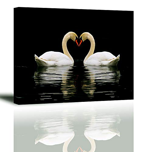 Romantic Swan Wall Art for Bedroom, PIY Love Animals Canvas Prints, Romance Lover Picture Decor (Waterproof Artwork, Bracket Mounted Ready to Hang)