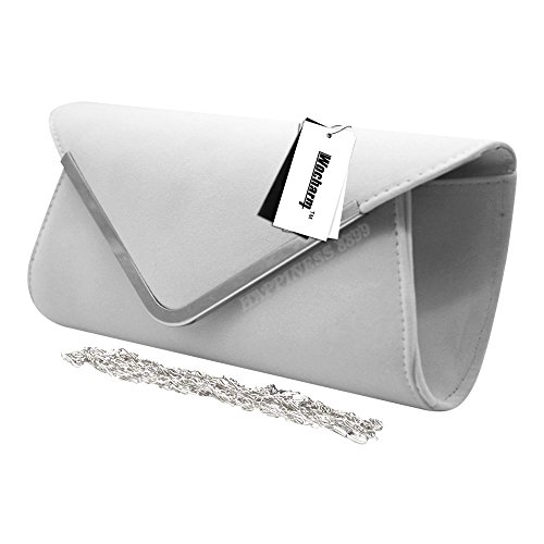 Wedding Party Celebrity Clutch Faux Bag Prom Designer Hand Trim Evening White Wocharm Handbag Style Ladies Suede Silver Women's Bag nHZ6xwRzq