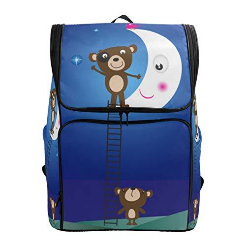 CANCAKA Backpack Postcard Bear Vector Lightweight Travel Bag Hiking Knapsack College Student School Bookbag Travel Daypack for men women ()