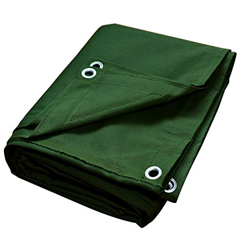 Canvas Tarps Truck Tarp Waterproof UV Resistant 10 OZ Heavy Duty Tarpaulin Cover for Car Boat Camping Firewood Woodpile, 10x12 Feet