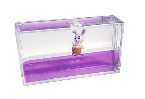 Easter Egg and Bunny Rabbit Liquid Wave Paperweight Desk Toy