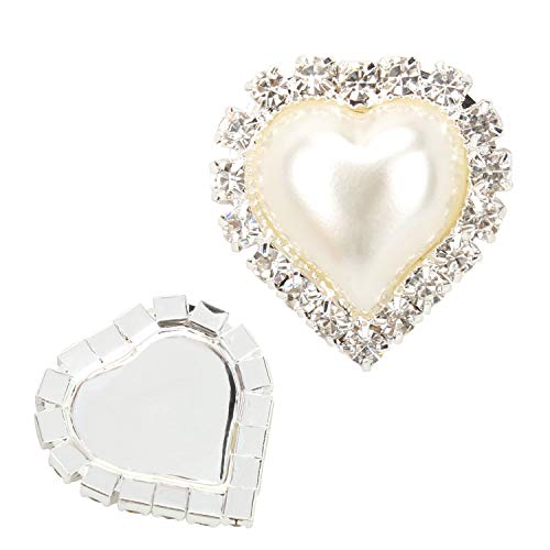 20 PCS Vintage Flatback Heart Faux Ivory Pearl Rhinestone Buttons Embellishments Bulk (Flat)