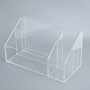 Acrylic Desktop Organizer, Pen,Memo,Mail, Bills, Files Office Items Organizer Storage box with 5 Compartments for Home and Office,,Clear