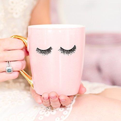 Review Pink Eyelashes Coffee Mug,