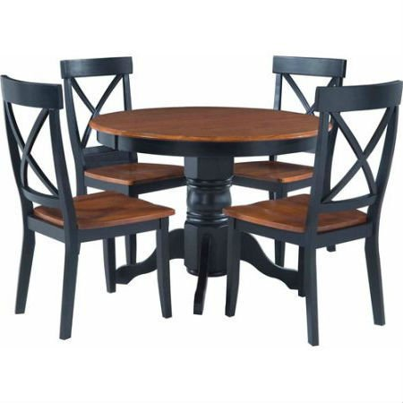 5 Piece Dining Set with 2 tone Black and Oak Finish. Displays Countryside / French / Traditional Feel. Includes 1 Round Pedestal Table and 4 Elegant Vintage Style Chairs Compliments any Kitchen