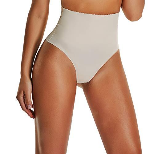 Thong Underwear for Women Thongs Shapewear High Waist Cincher Panty Tummy Slimmer Sexy Panties Seamless (Beige, S)