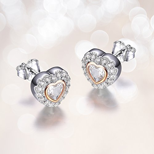 14k Rose Gold Plated Sterling Silver Cubic Zirconia Two Tone Halo Heart Stud Earrings