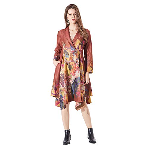 brown Casual Women's Veni 2 Folk Cotton pieces Style Linen Irregular 41 Masee Loose Dress Painting Maxi Oriental Beauty P11xTqH