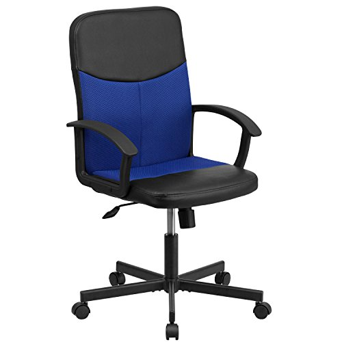 Flash Furniture Mid-Back Black Vinyl and Blue Mesh Racing Executive Swivel Office Chair For Sale