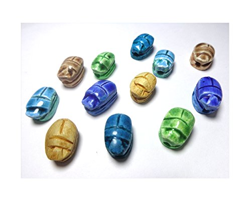 "12 XXS Deluxe Egyptian Faience 0.6"" Scarab Beads Jewelry Bracelet Carved Hieroglyphics Pendant Stone Bead Beetle Lucky luck Ancient Souvenir Pharaoh Pharaohs Handmade Sculpture Figure Decor (12 Mixed)"