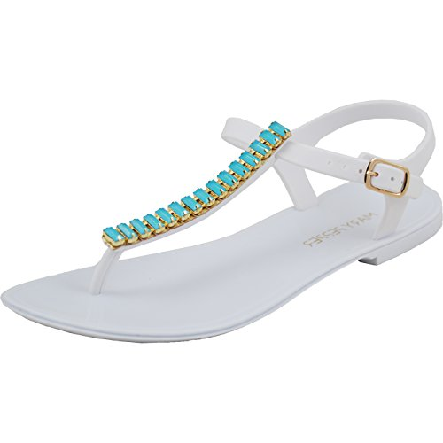 (Mary Pepper Women's Gems White Jelly T Strap Sandal 5-6 US)