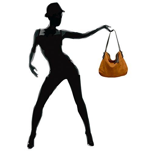 À Sac Main Véritable Daim Cognac Porté Pour Épaule Tl765 Hobo Femme Style Caspar En EfTwqq