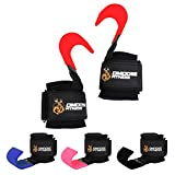 Weight Lifting Hooks Grip by DMoose Fitness (Pair) - 8 mm Thick Padded Neoprene, Double Stitching, Non-Slip Resistant Coating – Secure Your Grip and Reach Your Goals with Premium Workout Hook Gloves