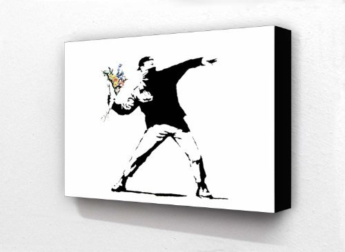 Banksy Graffiti Flower Chucker 6 x 4 Inches Postcard Size Horizontal Block mounted print by Laminated Posters