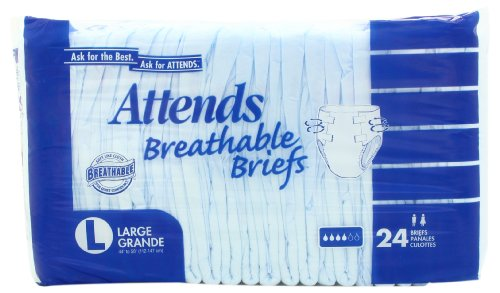 Paper Pak Attends Underwear - Attends Breathable Fitted Briefs w/ Flex Tabs, Size Large, Bag/24