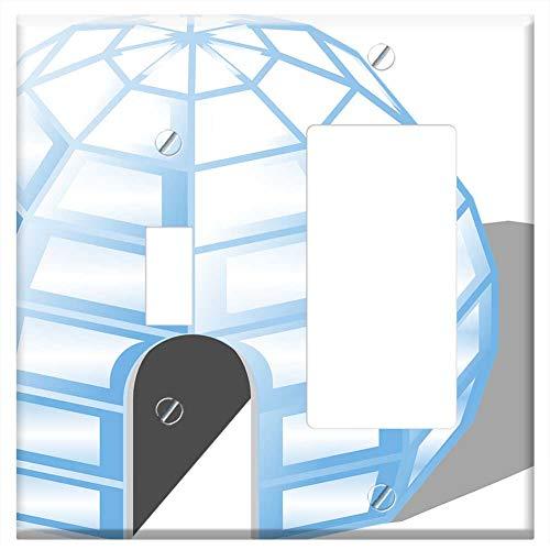 1-Toggle 1-Rocker/GFCI Combination Wall Plate Cover - Igloo Ice House Cold Inuit Eskimo Living Home -  Tree26, Wall-1T1R-M9E3BQ46JM0W