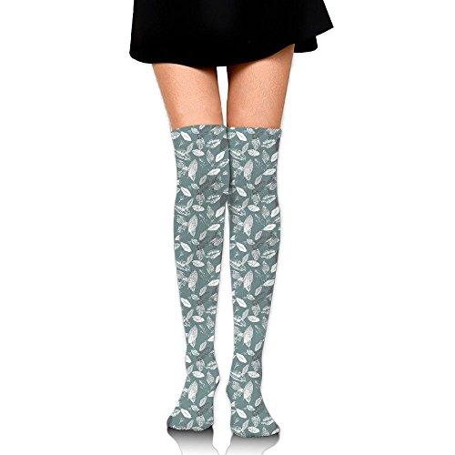 辞書読者照らすリーフ 図案 ストッキング サイハイソックス 3D デザイン 女性男性 秋と冬 フリーサイズ 美脚 かわいいデザイン 靴下 足元パイル ハイソックス メンズ レディース ブラック