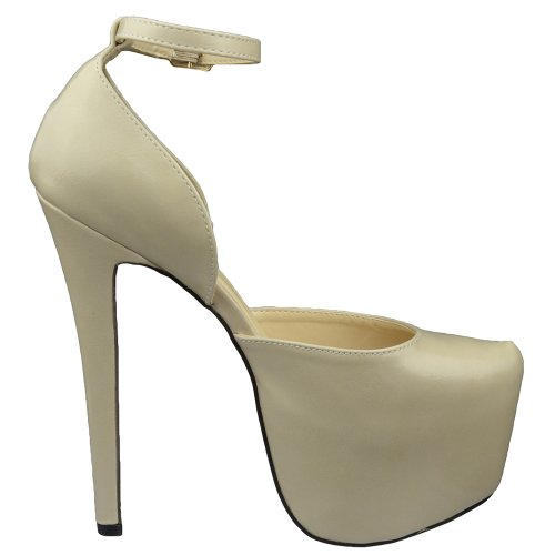 Open Mid Nude Platform Back Strap Stiletto Shoes Nude Pumps Womens q1AB7